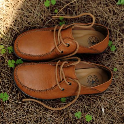 古奇天伦真皮女鞋大码深口单鞋头层牛皮平底鞋妈妈鞋复古休闲皮鞋