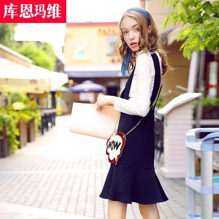 2016秋季新款女装V领高腰黑色学生修身背带裙子鱼尾荷叶边连衣裙