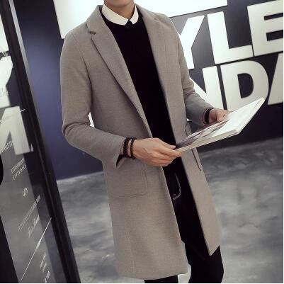 2016秋冬季男士韩版修身长款毛呢大衣青少年外套休闲潮流风衣男装